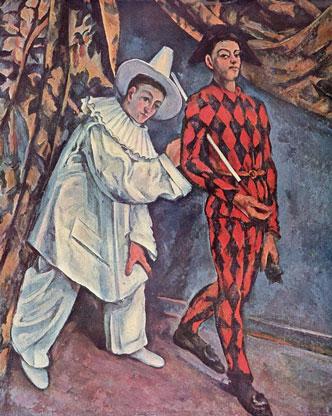 Cézanne : Mardi gras (Pierrot et Arlequin) (1888), musée Pouchkine source http://www.evous.fr/Exposition-de-la-collection-Chtchoukine-1190794.html