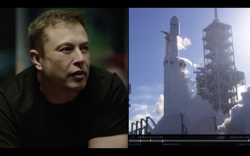 sursa imaginii https://techcrunch.com/2018/02/10/heres-a-video-of-elon-musk-watching-the-falcon-heavy-take-off/
