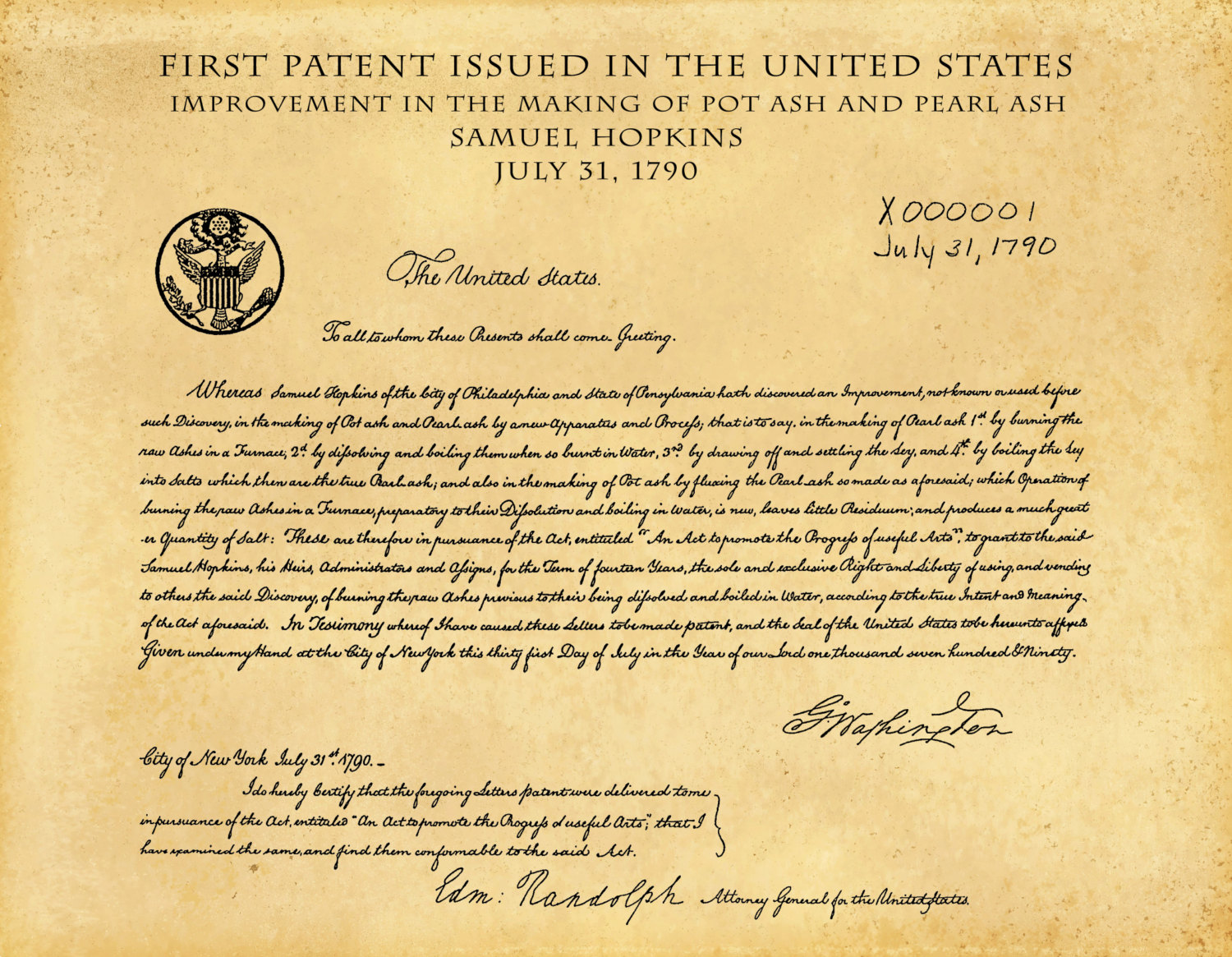 sursa imaginii https://www.bluemoonpatentprints.com/listing/240584993/patent-1790-first-us-patent-issued-by